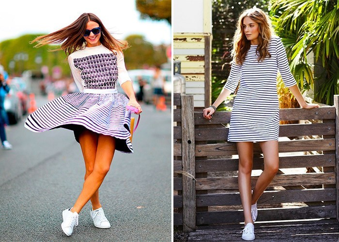Фото кроссовки с платьем